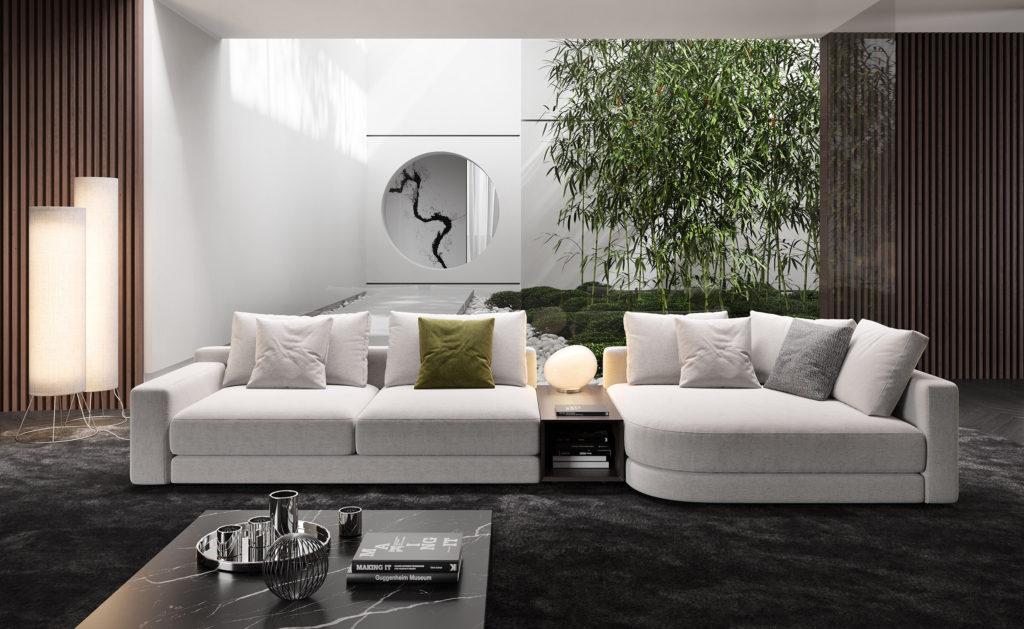 licht grijs wit salong design hoek
