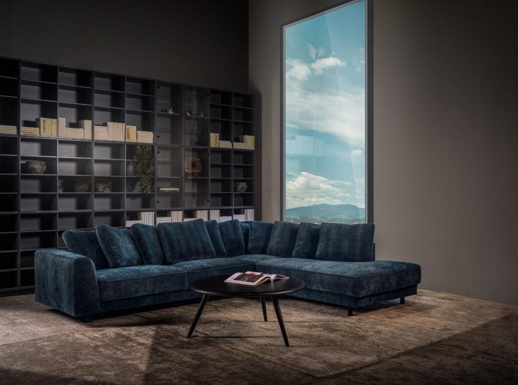 teal blauw velours salon design