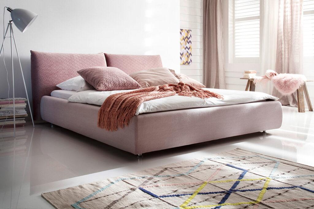 Bedden en boxsprings Ponsaerts Meubelen boxspring roze textiel