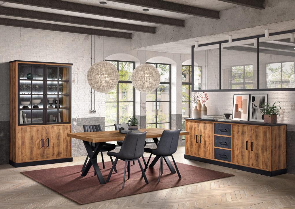 living Ponsaerts Meubelen volledige eetkamer set design stoelen leder massief hout kast en dressoir