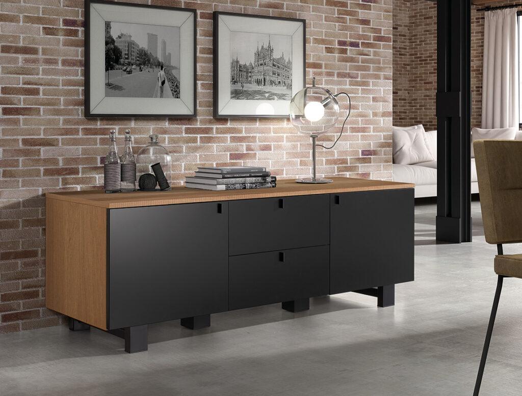 living Ponsaerts Meubelen meubel hout en zwart mat