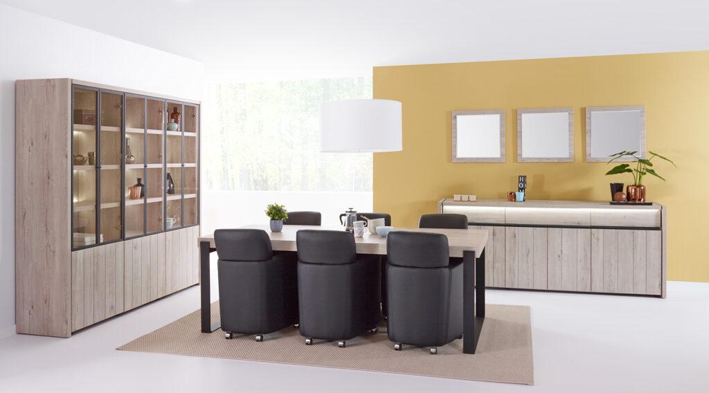 living Ponsaerts Meubelen volledige eetkamer set design stoelen leder massief hout kast