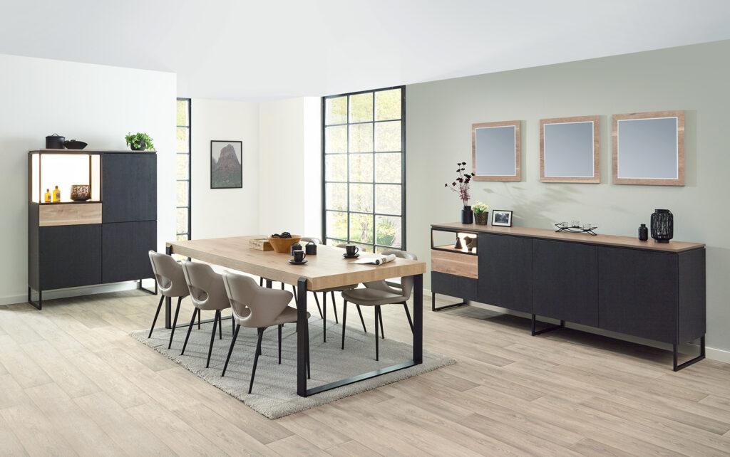 living Ponsaerts Meubelen volledige eetkamer set design stoelen leder zwart dressoir en kast