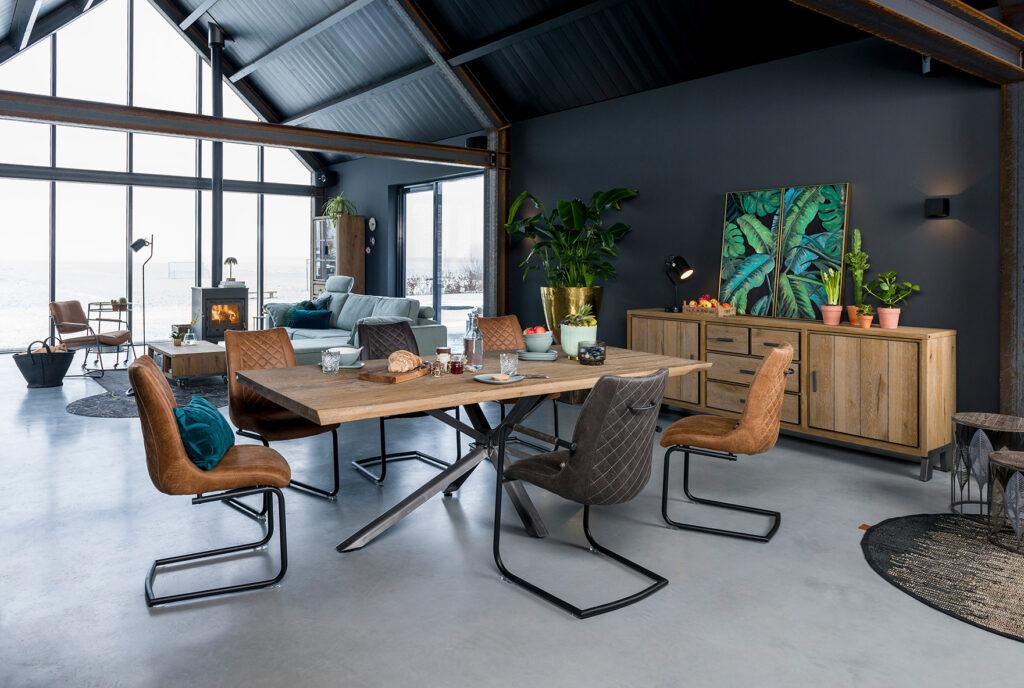 living Ponsaerts Meubelen volledige eetkamer set design stoelen leder massief houten dressoir