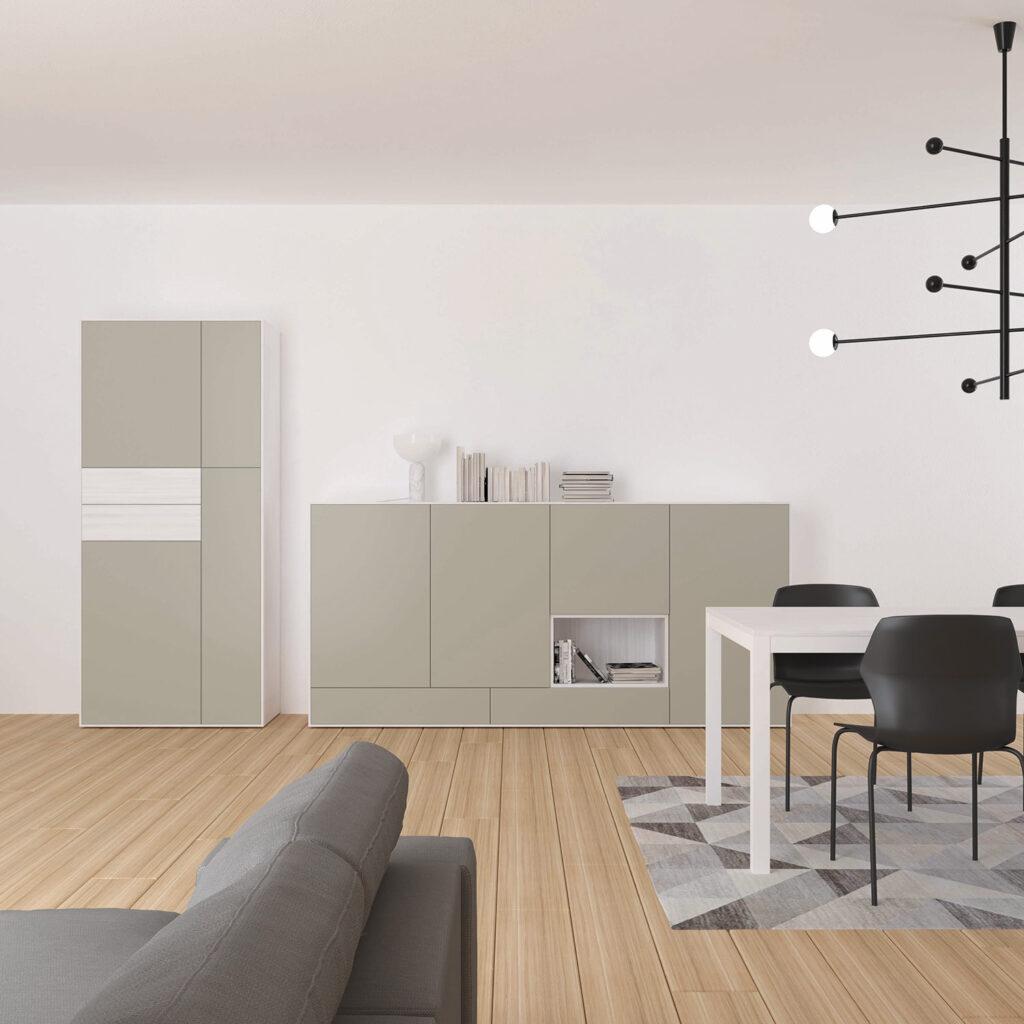living Ponsaerts Meubelen meubel licht grijs mat kasten