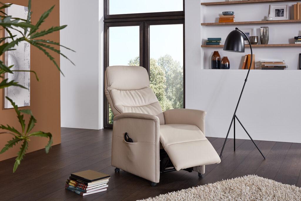 Relax Ponsaerts Meubelen beige leder relaxzetel