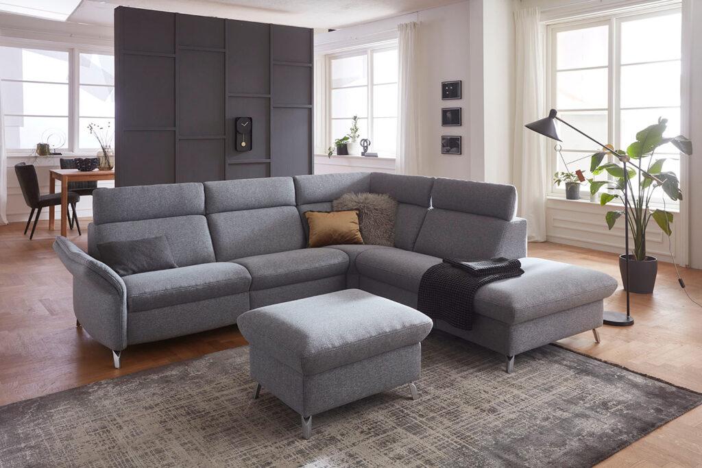 salon ponsaerts meubelen hoeksalon design grijs poef