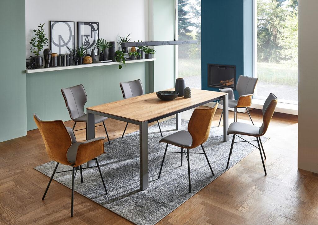 Tafels en stoelen Ponsaerts Meubelen eetkamer set design stoelen metaal deine