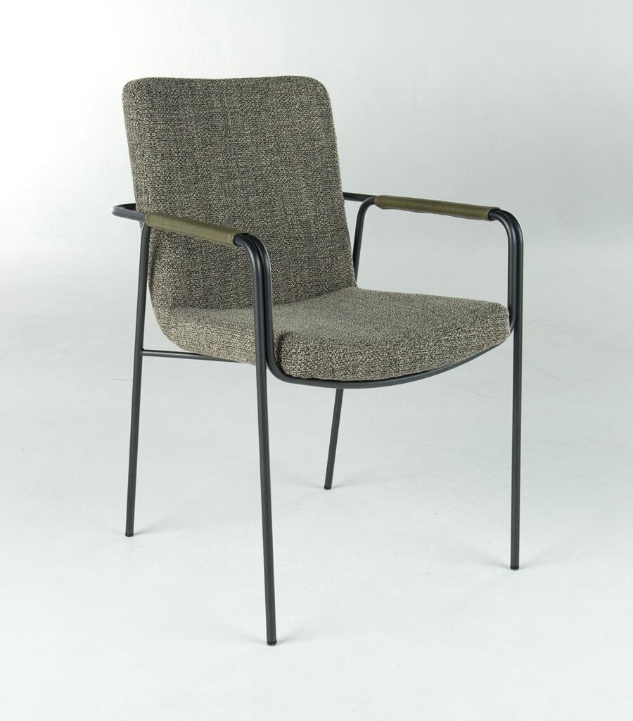 stoel Ponsaerts Meubelen design kaki textiel zwart metaal